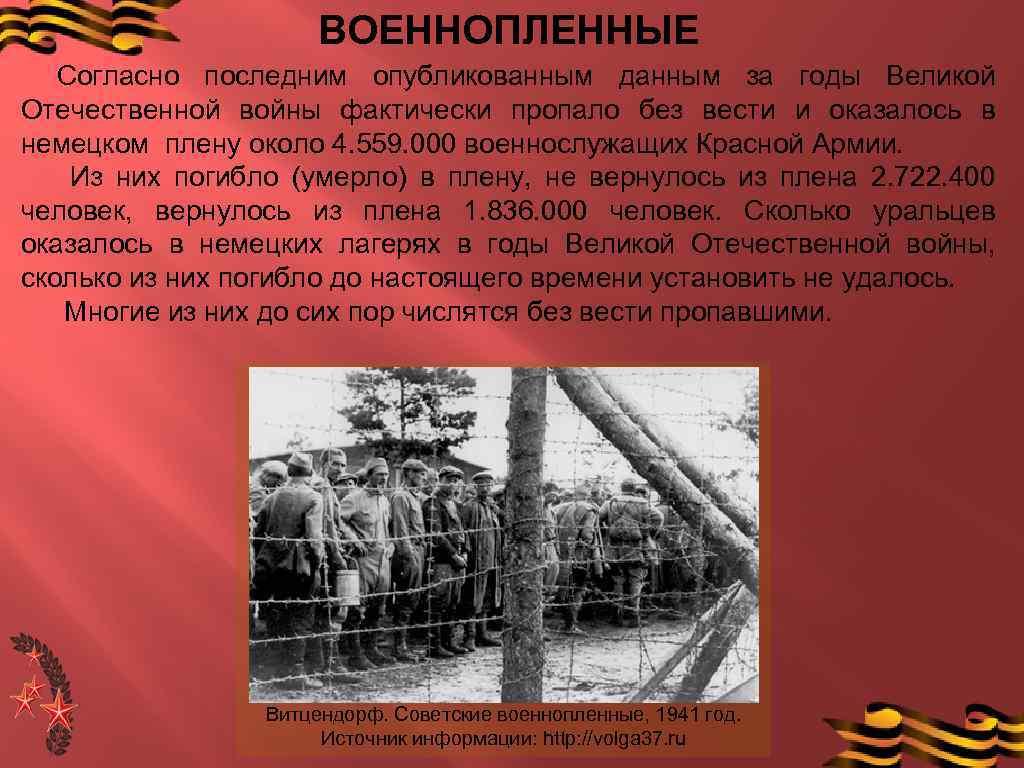 ВОЕННОПЛЕННЫЕ Согласно последним опубликованным данным за годы Великой Отечественной войны фактически пропало без вести