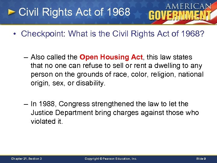 Civil Rights Act of 1968 • Checkpoint: What is the Civil Rights Act of