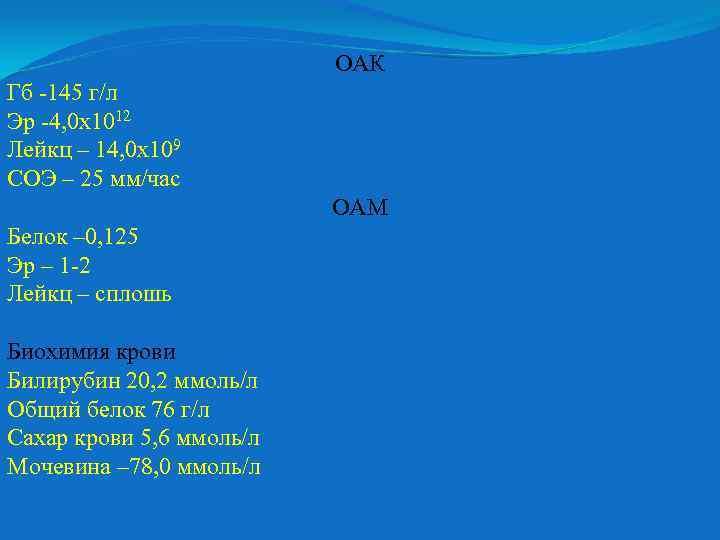 ОАК Гб -145 г/л Эр -4, 0 х1012 Лейкц – 14, 0 х109 СОЭ