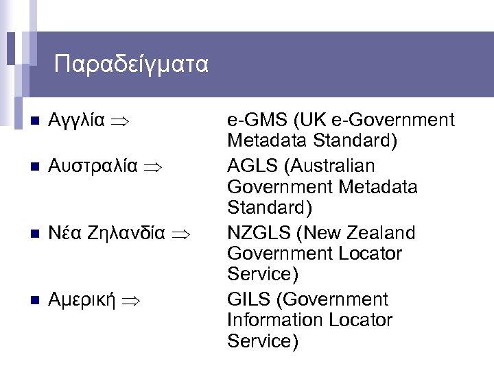 Παραδείγματα n Αγγλία n Αυστραλία n Νέα Ζηλανδία n Αμερική e-GMS (UK e-Government Metadata