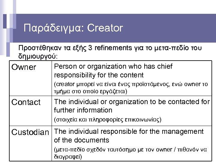 Παράδειγμα: Creator Προστέθηκαν τα εξής 3 refinements για το μετα-πεδίο του δημιουργού: Person or