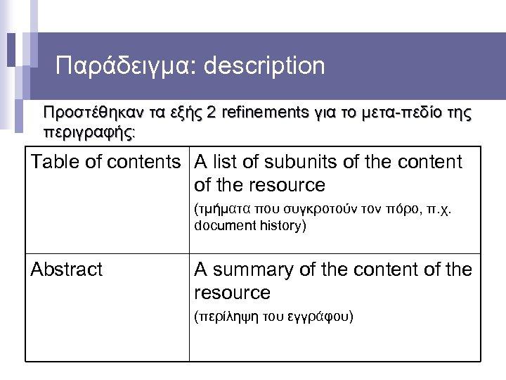 Παράδειγμα: description Προστέθηκαν τα εξής 2 refinements για το μετα-πεδίο της περιγραφής: Table of