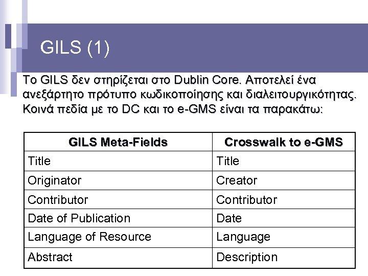 GILS (1) Το GILS δεν στηρίζεται στο Dublin Core. Αποτελεί ένα ανεξάρτητο πρότυπο κωδικοποίησης