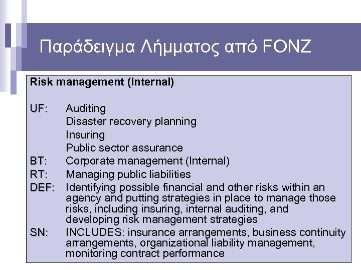 Παράδειγμα Λήμματος από FONZ Risk management (Internal) UF: Auditing Disaster recovery planning Insuring Public