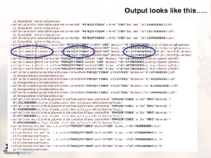 Output looks like this…. .