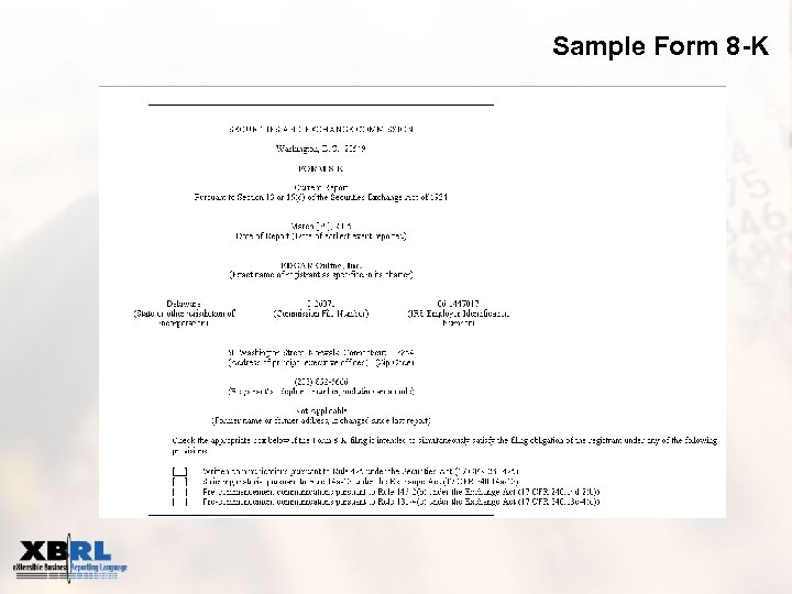 Sample Form 8 -K