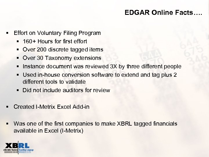 EDGAR Online Facts…. § Effort on Voluntary Filing Program § 160+ Hours for first
