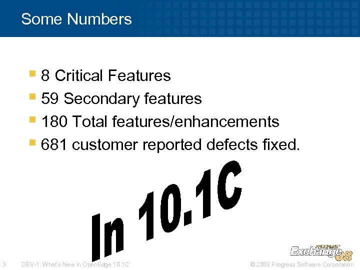 Some Numbers § 8 Critical Features § 59 Secondary features § 180 Total features/enhancements