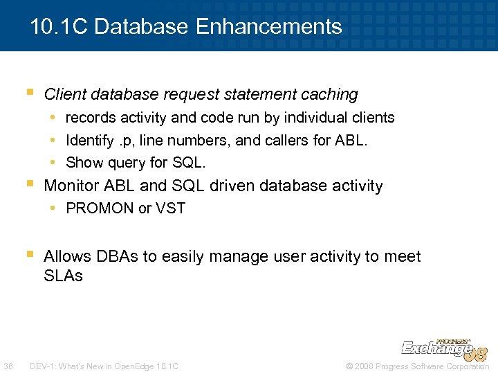 10. 1 C Database Enhancements § Client database request statement caching • records activity
