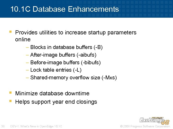 10. 1 C Database Enhancements § Provides utilities to increase startup parameters online –