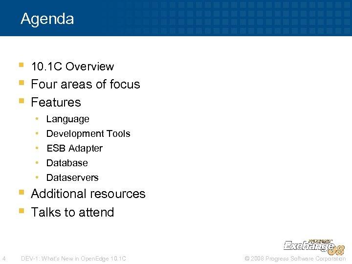 Agenda § § § 10. 1 C Overview Four areas of focus Features •
