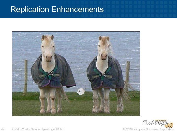 Replication Enhancements 44 DEV-1: What's New in Open. Edge 10. 1 C © 2008