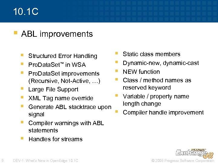 10. 1 C § ABL improvements § § § § 9 Structured Error Handling