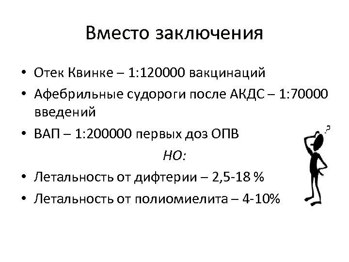 Вместо заключения • Отек Квинке – 1: 120000 вакцинаций • Афебрильные судороги после АКДС
