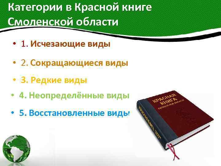 Категории в Красной книге Смоленской области • 1. Исчезающие виды • 2. Сокращающиеся виды