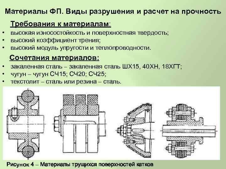 Материалы ФП. Виды разрушения и расчет на прочность Требования к материалам: • высокая износостойкость