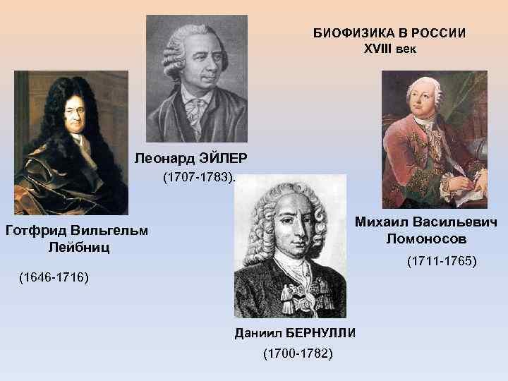 БИОФИЗИКА В РОССИИ XVIII век Леонард ЭЙЛЕР (1707 -1783). Михаил Васильевич Ломоносов Готфрид Вильгельм