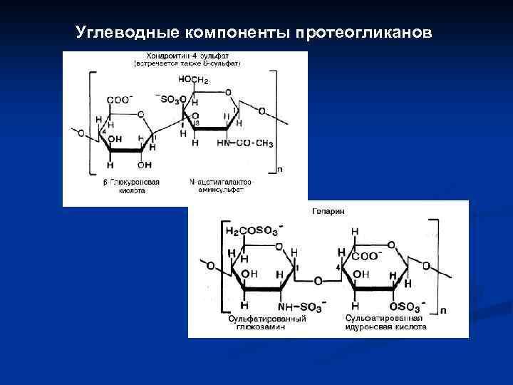 Углеводные компоненты протеогликанов