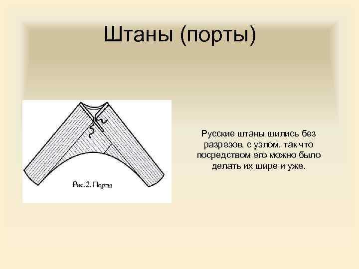 Штаны (порты) Русские штаны шились без разрезов, с узлом, так что посредством его можно