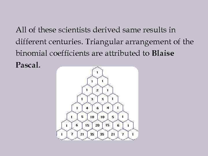 All of these scientists derived same results in different centuries. Triangular arrangement of the