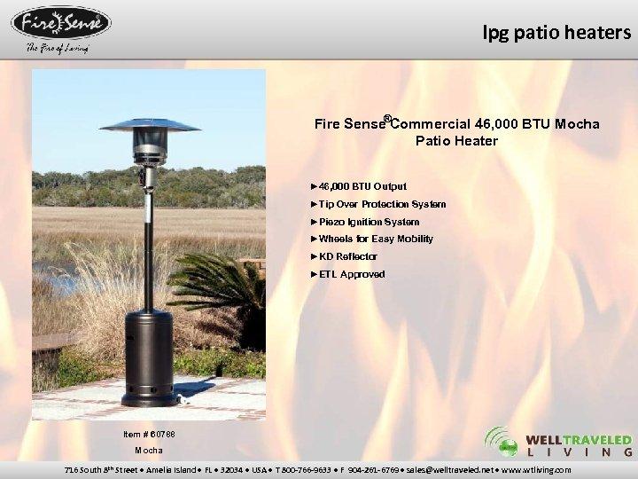 lpg patio heaters Fire Sense®Commercial 46, 000 BTU Mocha Patio Heater ► 46, 000