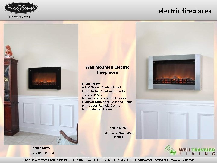electric fireplaces Wall Mounted Electric Fireplaces ► 1400 Watts ►Soft Touch Control Panel ►Full