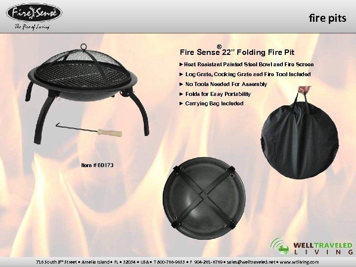 "fire pits ® Fire Sense 22"" Folding Fire Pit ►Heat Resistant Painted Steel Bowl"