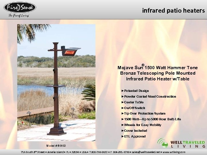 infrared patio heaters ® Mojave Sun 1500 Watt Hammer Tone Bronze Telescoping Pole Mounted