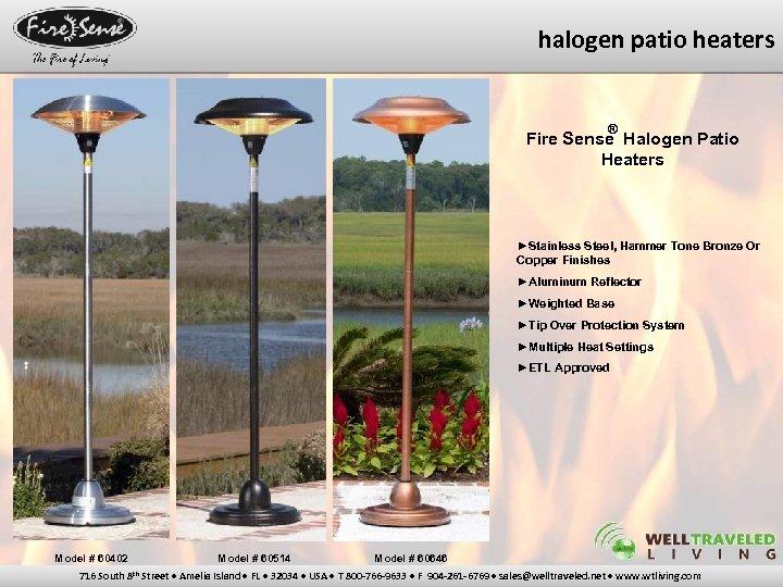 halogen patio heaters ® Fire Sense Halogen Patio Heaters ►Stainless Steel, Hammer Tone Bronze