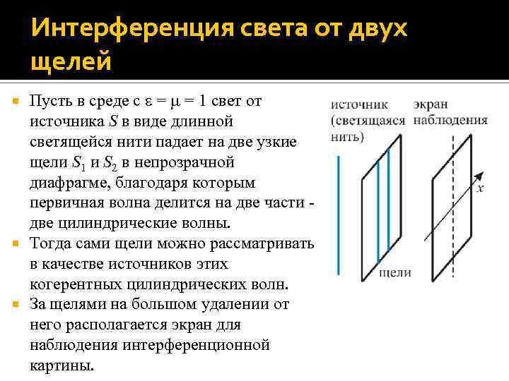 Интерференция света от двух щелей Пусть в среде с = = 1 свет от