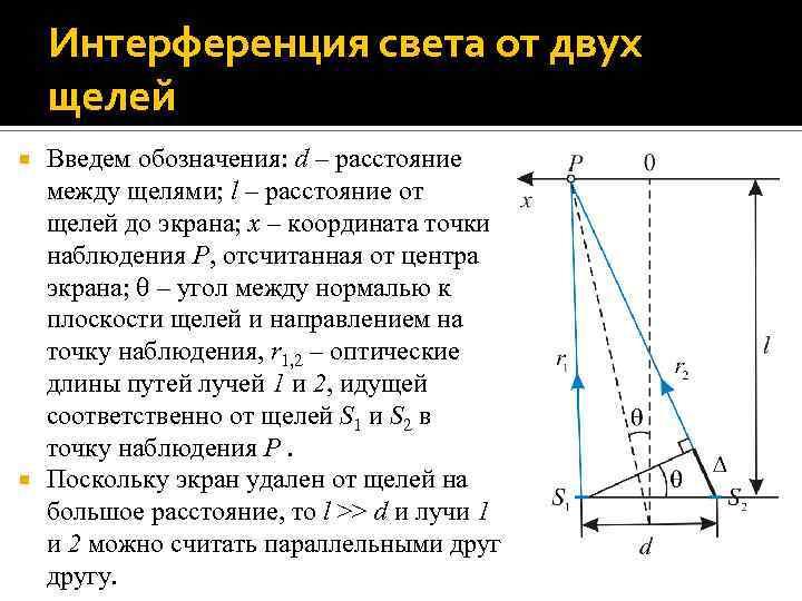 Интерференция света от двух щелей Введем обозначения: d – расстояние между щелями; l –