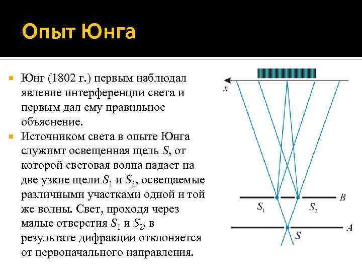 Опыт Юнга Юнг (1802 г. ) первым наблюдал явление интерференции света и первым дал