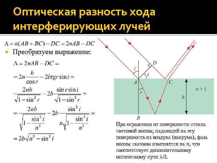 Оптическая разность хода интерферирующих лучей Преобразуем выражение: При отражении от поверхности стекла световой волны,