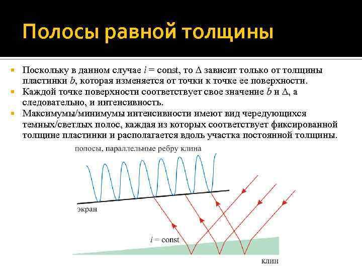 Полосы равной толщины Поскольку в данном случае i = const, то зависит только от