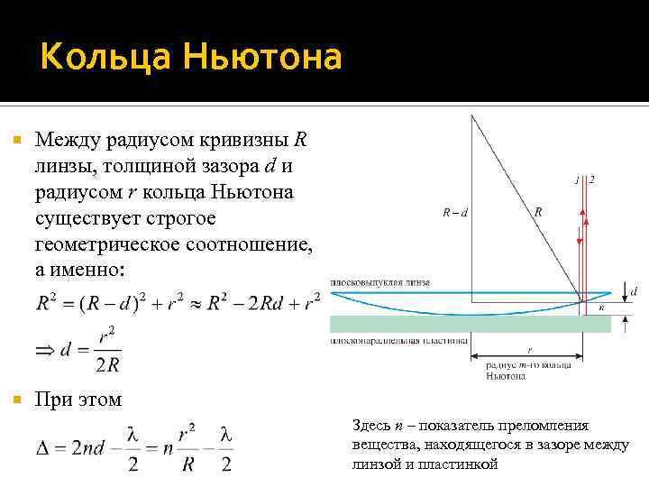 Кольца Ньютона Между радиусом кривизны R линзы, толщиной зазора d и радиусом r кольца
