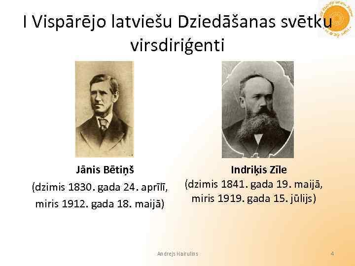 I Vispārējo latviešu Dziedāšanas svētku virsdiriģenti Jānis Bētiņš (dzimis 1830. gada 24. aprīlī, miris