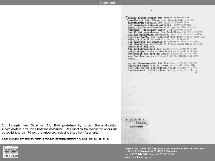 Documents 2 c. Excerpts from December 21, 1944 guidelines by Upper Silesia Gauleiter, Oberpräsident,