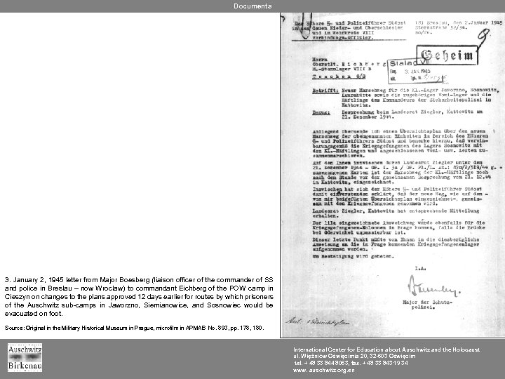Documents 3. January 2, 1945 letter from Major Boesberg (liaison officer of the commander