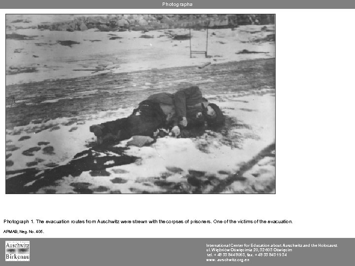 Photographs Photograph 1. The evacuation routes from Auschwitz were strewn with the corpses of