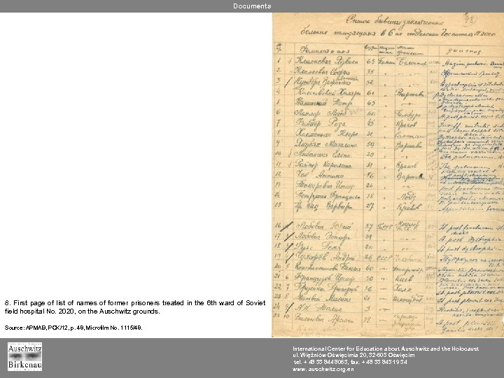 Documents 8. First page of list of names of former prisoners treated in the