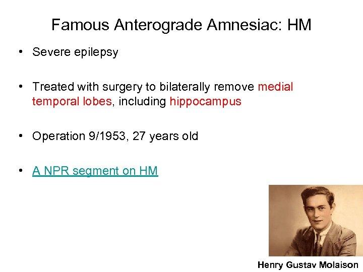 Famous Anterograde Amnesiac: HM • Severe epilepsy • Treated with surgery to bilaterally remove