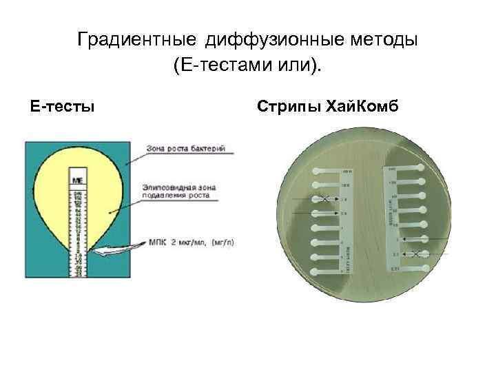 Градиентные диффузионные методы (Е-тестами или). E-тесты Стрипы Хай. Комб