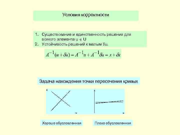 Условия корректности 1. Существование и единственность решения для всякого элемента u U 2. Устойчивость