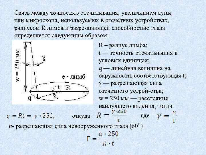 Связь между точностью отсчитывания, увеличением лупы или микроскопа, используемых в отсчетных устройствах, радиусом R