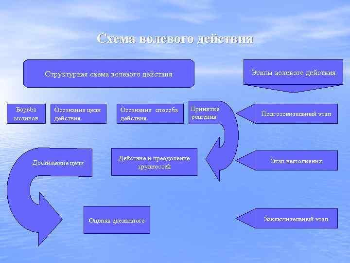 Схема волевого действия Этапы волевого действия Структурная схема волевого действия Борьба мотивов Осознание цели