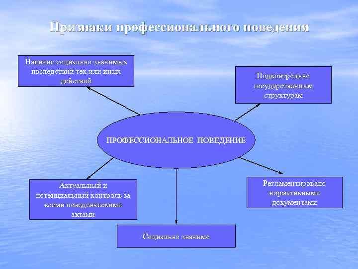 Признаки профессионального поведения Наличие социально значимых последствий тех или иных действий Подконтрольно государственным структурам