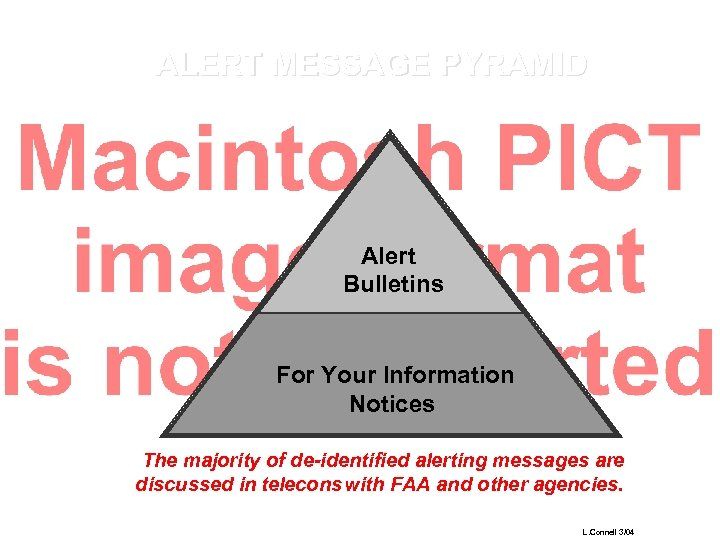 ALERT MESSAGE PYRAMID Alert Bulletins For Your Information Notices The majority of de-identified alerting