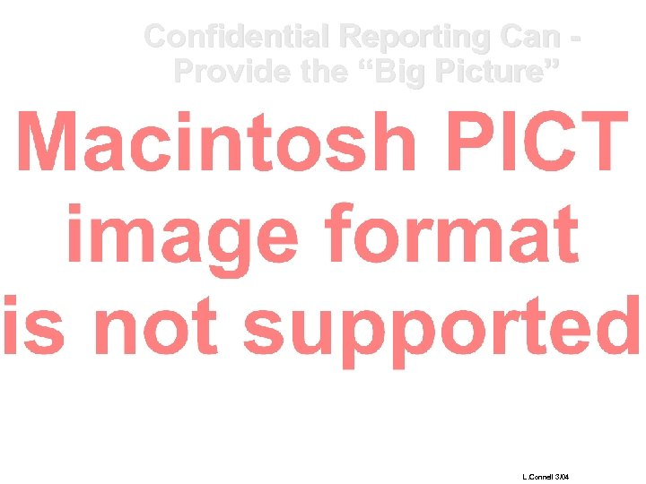 """Confidential Reporting Can Provide the """"Big Picture"""" L. Connell 3/04"""