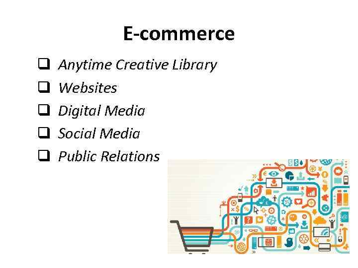E-commerce q Anytime Creative Library q Websites q Digital Media q Social Media q
