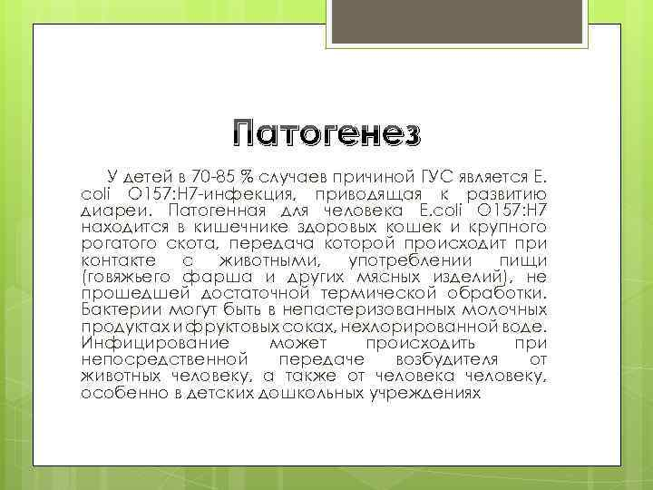 Патогенез У детей в 70 -85 % случаев причиной ГУС является E. coli O
